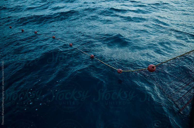 Commercial fishing net and ocean, Fourni Islands, Aegean Sea, Gr by Thomas Pickard for Stocksy United