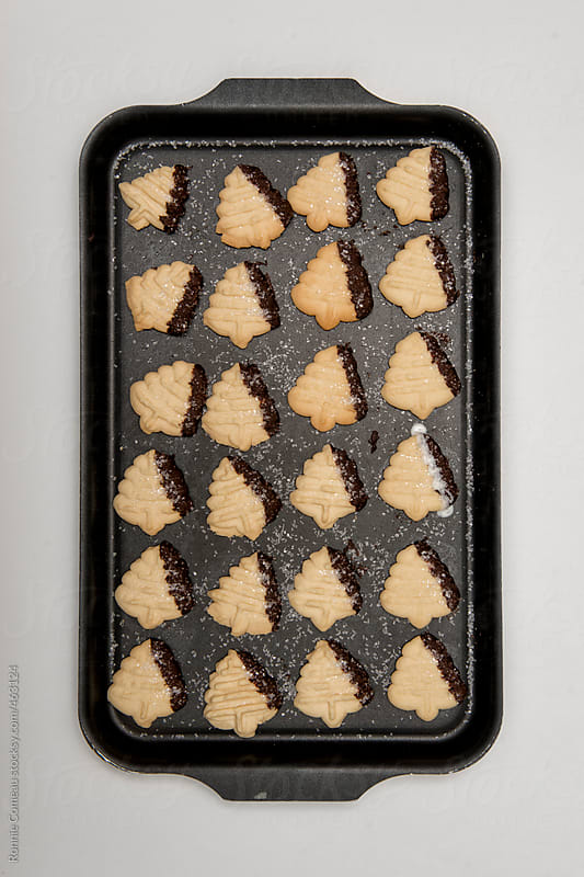Baking Pan With Christmas Cookies by Ronnie Comeau for Stocksy United