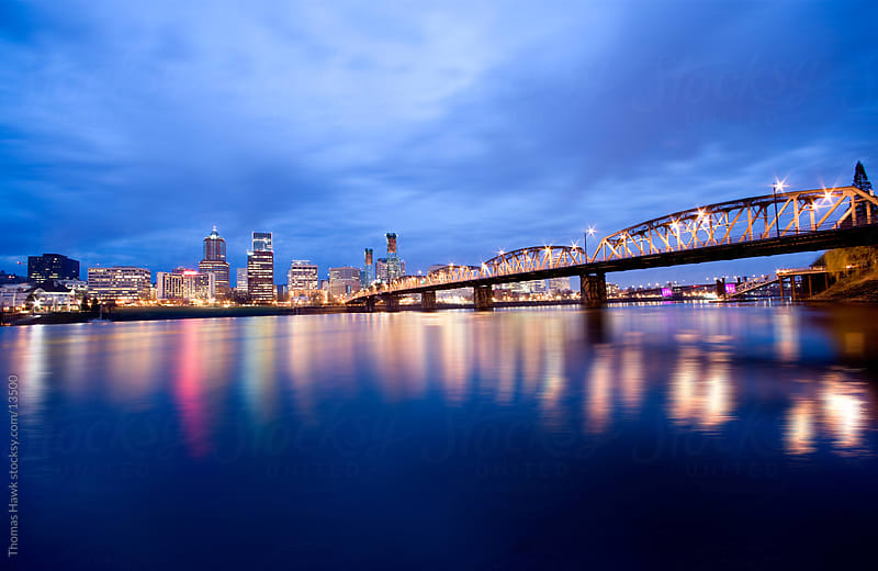 Hawthorne Bridge and dawn, Portland, OR by Thomas Hawk for Stocksy United