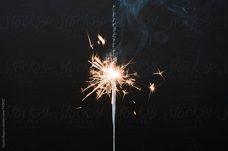 Film Photo of Sparkler on Black Background by Austin Rogers for Stocksy United