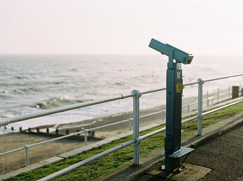 Telescope overlooking the sea at Southwold, UK by Kirstin Mckee for Stocksy United