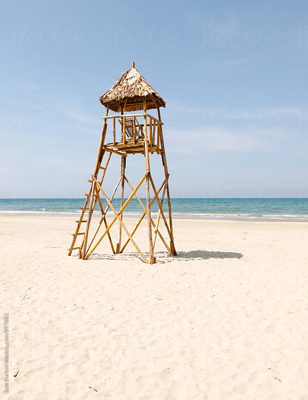 Wooden lifeguard hut by Sam Burton for Stocksy United