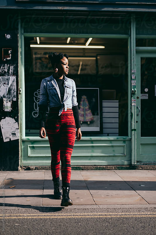 Beautiful Black woman outdoor in the city by Mauro Grigollo for Stocksy United