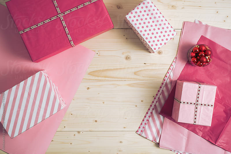 Pink Presents on the Desk with Wrapping Paper by Aleksandra Jankovic for Stocksy United