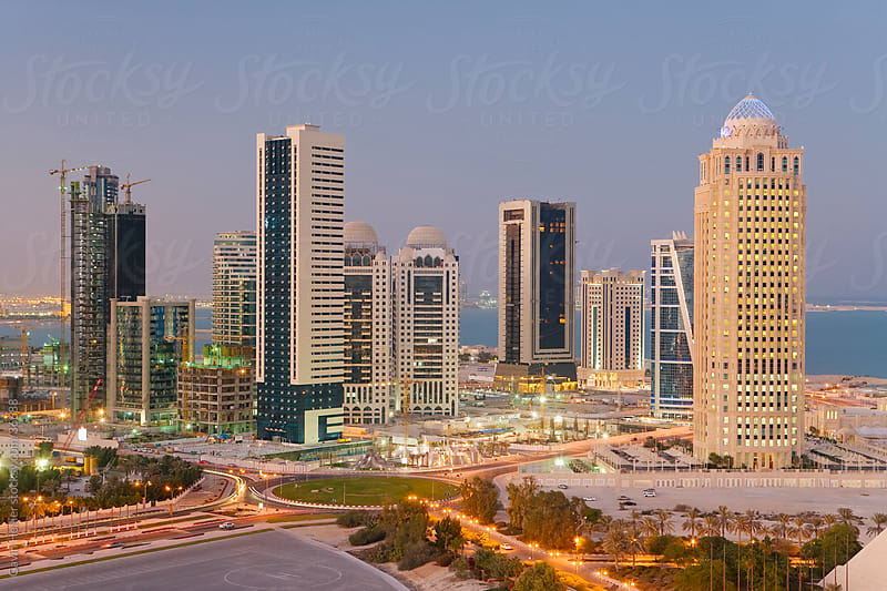 Qatar, Middle East, Arabian Peninsula, Doha, new skyline of the West Bay central financial district of Doha by Gavin Hellier for Stocksy United