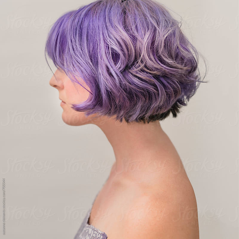 Purple Hair Woman by suzanne clements for Stocksy United