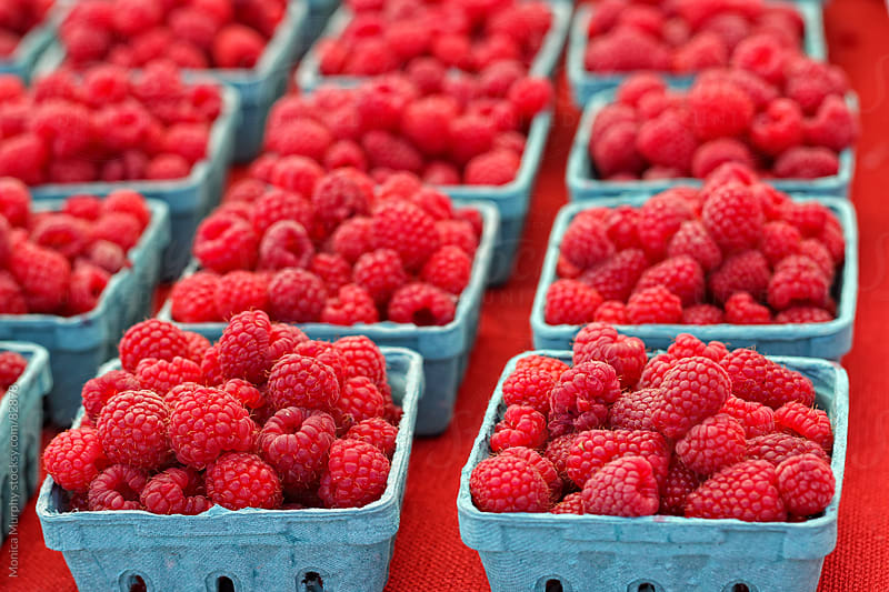 Red raspberries at the local farmers market by Monica Murphy for Stocksy United