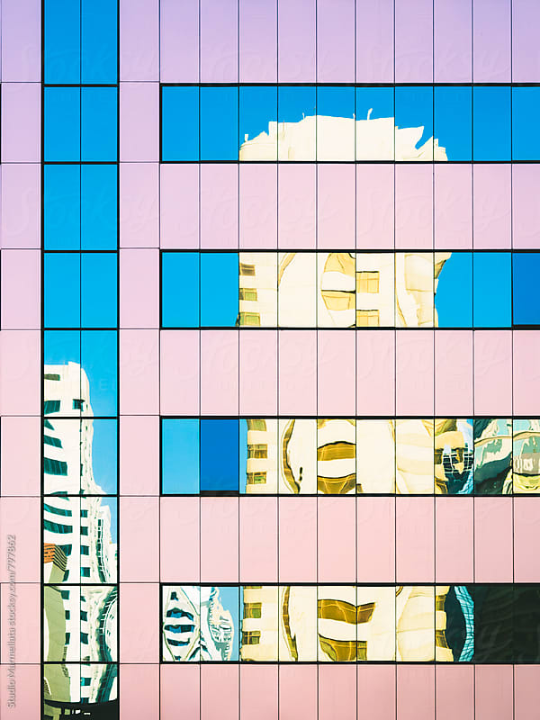 detail of a pink skyscraper by Juri Pozzi for Stocksy United