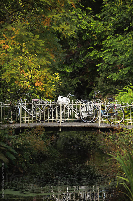 Bikes on a bridge in the park by Marcel for Stocksy United
