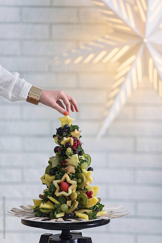 Tropical Fruit Christmas Tree by Lumina for Stocksy United