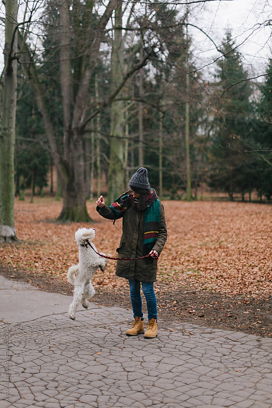 Woman training her dog outdoors by Marija Mandic for Stocksy United