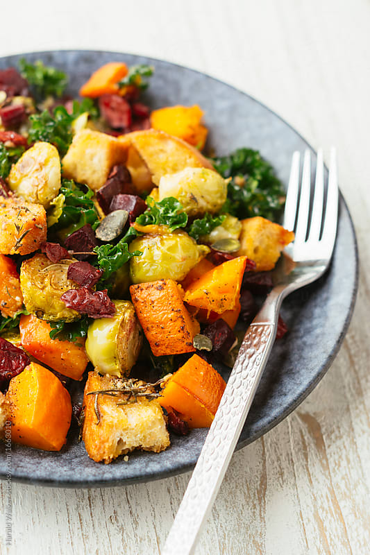 Autumn Harvest Panzanella by Harald Walker for Stocksy United