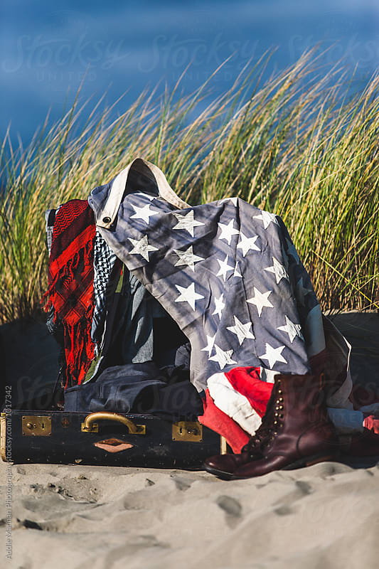 American Flag in a suitcase by Addie Mannan Photography for Stocksy United