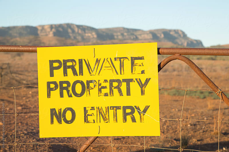 Private Property sign on a gate. by John White for Stocksy United