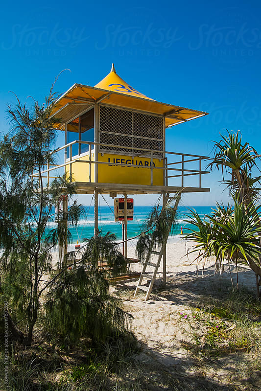 Life Guard Hut on famous Surfers Paradise Beach by Rowena Naylor for Stocksy United