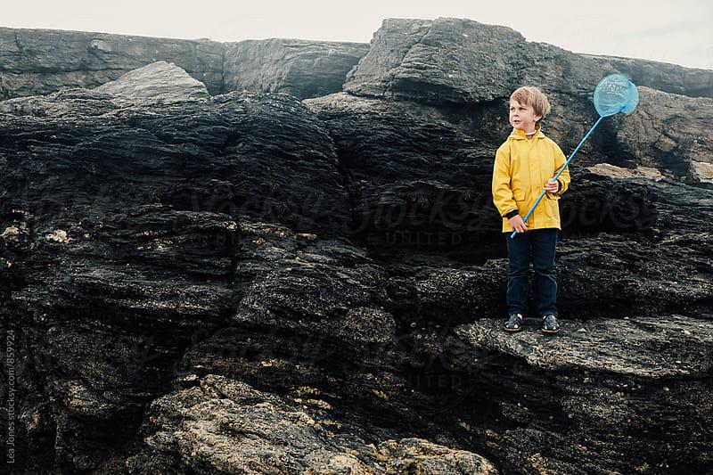 little boy with net standing on a rock by Léa Jones for Stocksy United