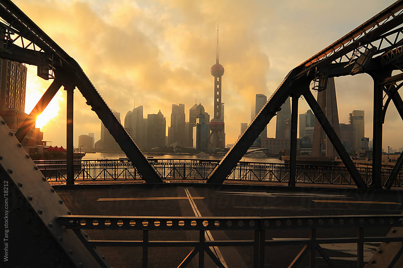 Lujiazui Finance&Trade Zone of Shanghai bund garden bridge landmark by Wenhai Tang for Stocksy United