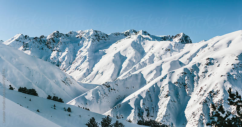 panoramashot of a snowcovered mountain range in east anatolia, turkey by Leander Nardin for Stocksy United