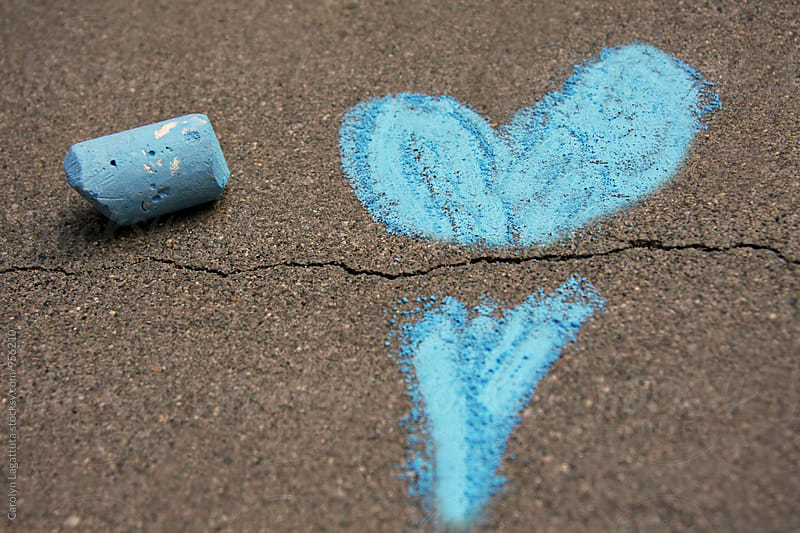 Broken blue chalk heart by Carolyn Lagattuta for Stocksy United