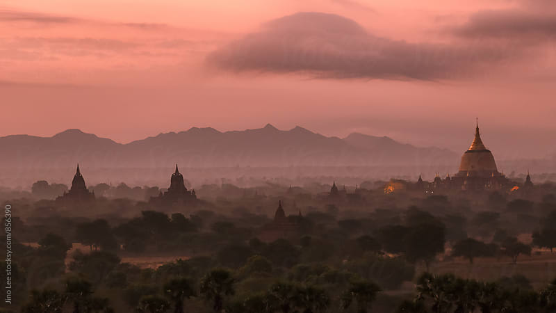 Bagan stupas in the morning by Jino Lee for Stocksy United