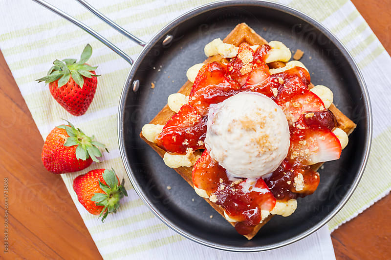 Strawberry Cheesecake Waffle by Todd Beltz for Stocksy United