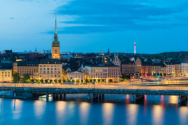 Stockholm, Sweden - City Skyline at Night by Tom Uhlenberg for Stocksy United