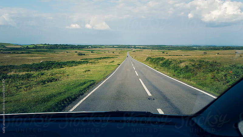 View of open country road from a car by sally anscombe for Stocksy United