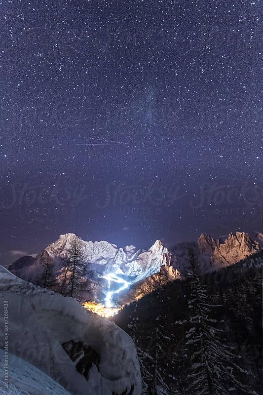 dolomites at night by Leander Nardin for Stocksy United