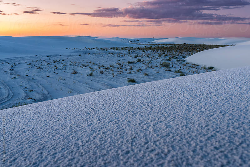 White Sands National Monument New Mexico Landscape at Dawn with First Light on Horizon by JP Danko for Stocksy United