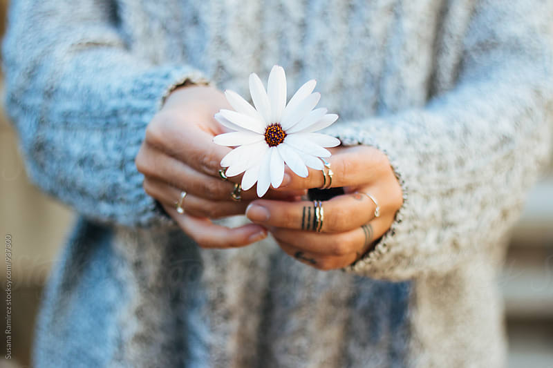 Detail: Hands with a daisy by Susana Ramírez for Stocksy United
