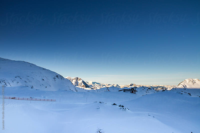 Skiing area in the austrian alps by Leander Nardin for Stocksy United