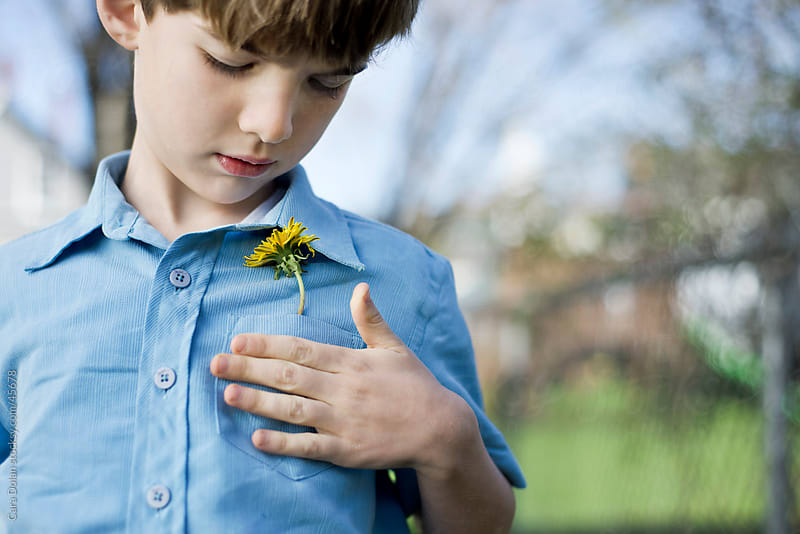 Boy looks down at a single dandelion flower in his shirt pocket by Cara Slifka for Stocksy United