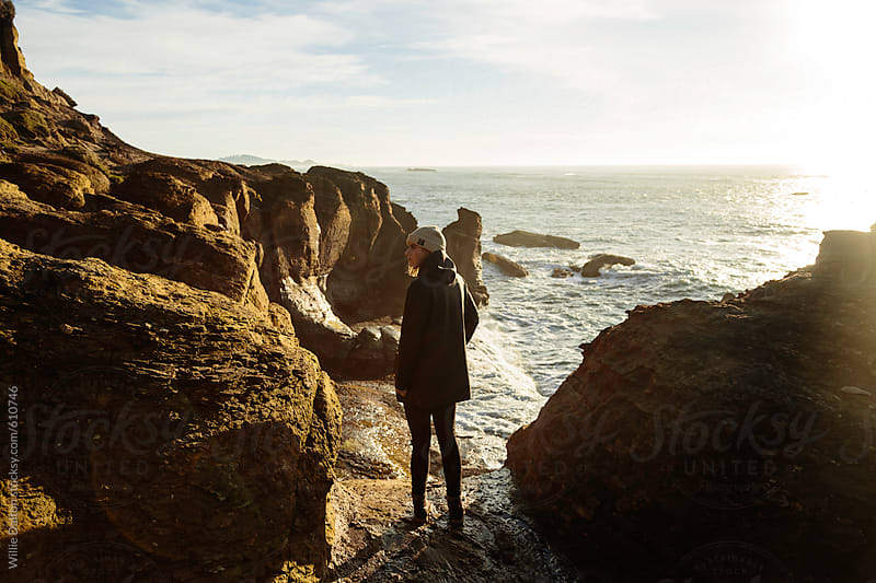 Hip Woman on a Costal Cliff by Willie Dalton for Stocksy United