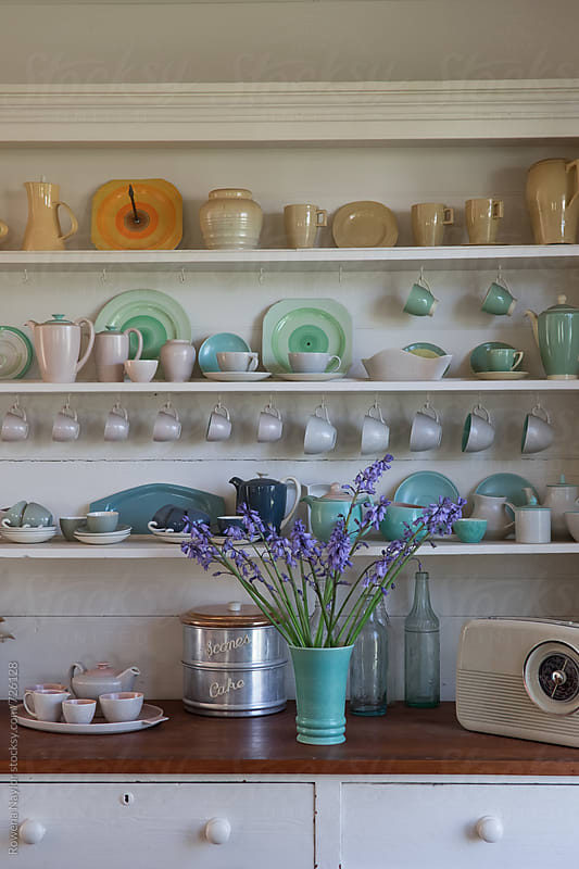 Collection of vintage pottery in country homestead by Rowena Naylor for Stocksy United