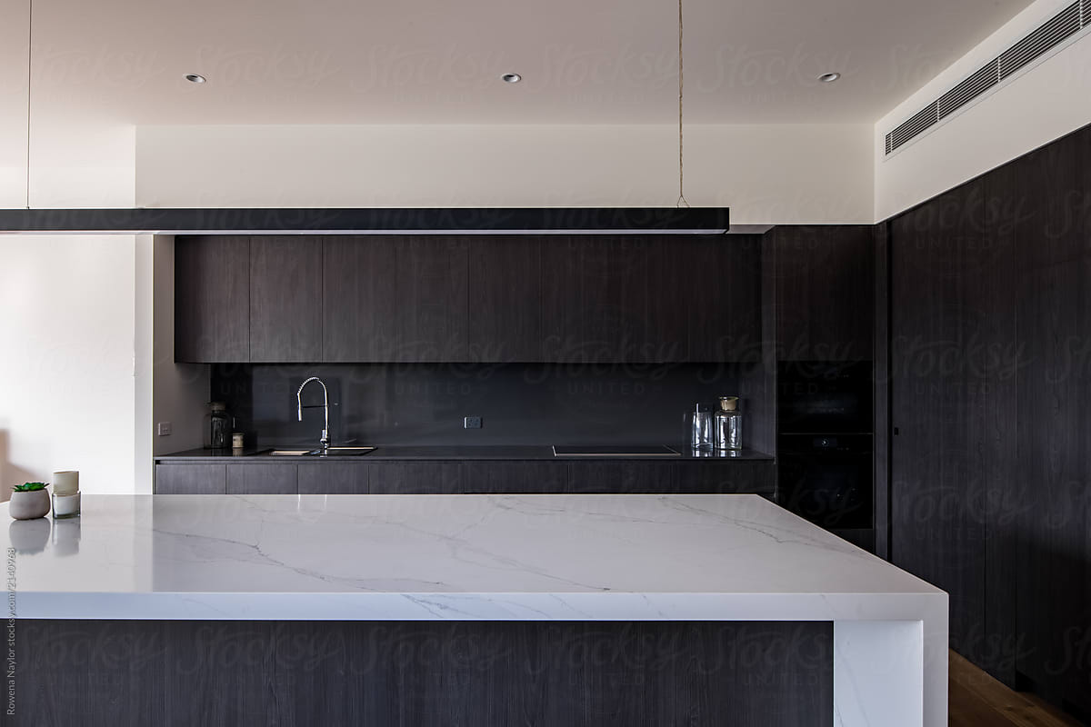 Contemporary Kitchen With Large White Marble Bench By Rowena