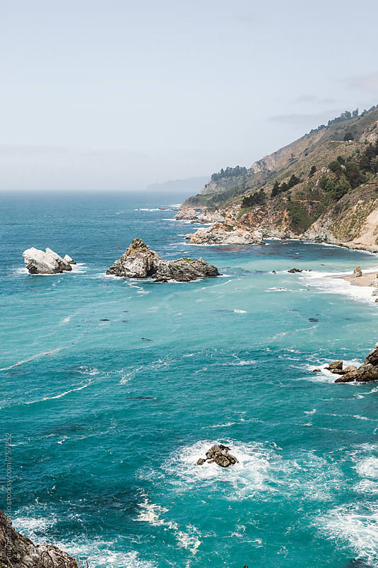 View of Pacific coast, Big Sur by michela ravasio for Stocksy United