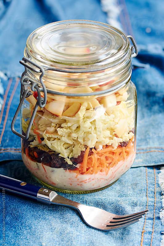 Apple Raisin Coleslaw in a Jar by Harald Walker for Stocksy United