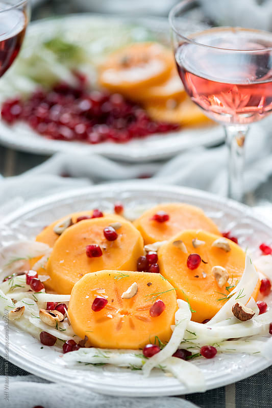Persimmn, Fennel and Pomegranate Salad by Jeff Wasserman for Stocksy United