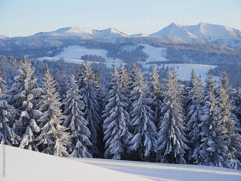 Beautiful snowy alpine view in winter by rolfo for Stocksy United