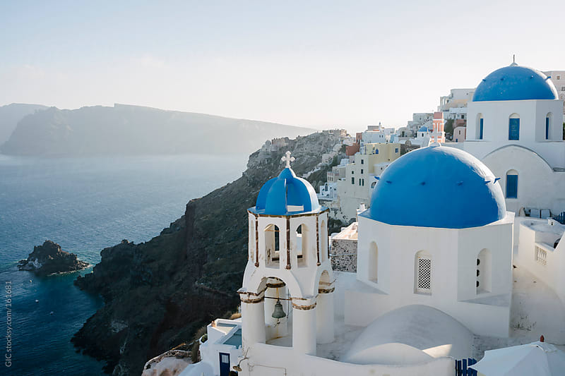 Oia town in Santorini - white and blue architecture by GIC for Stocksy United
