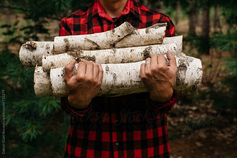 Men in red and black flannel holding firewood by Gabriel (Gabi) Bucataru for Stocksy United