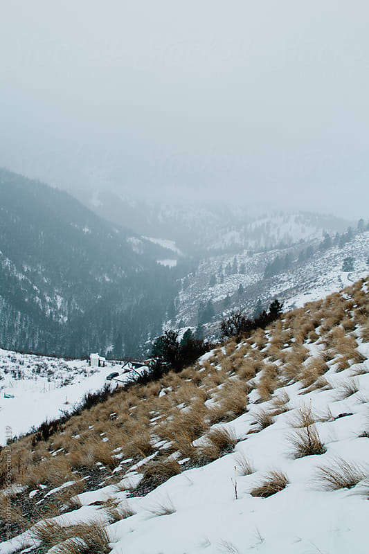 Snowy mountain side in easter washington by Jesse Morrow for Stocksy United