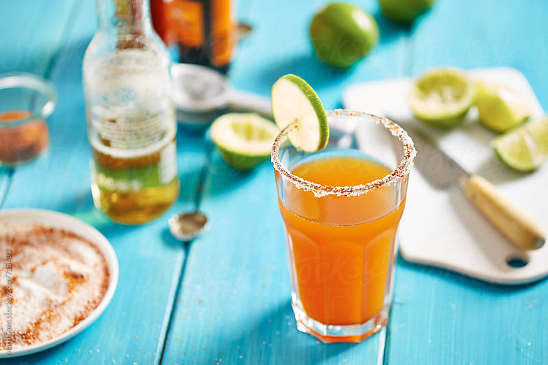 Mexican michelada cocktail by Martí Sans for Stocksy United