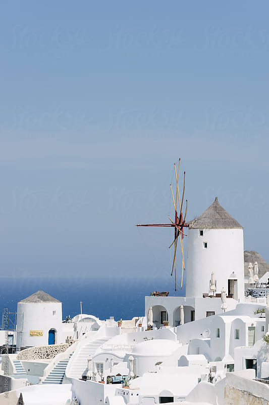 Windmill on the Greek island of Santorini by MaaHoo Studio for Stocksy United