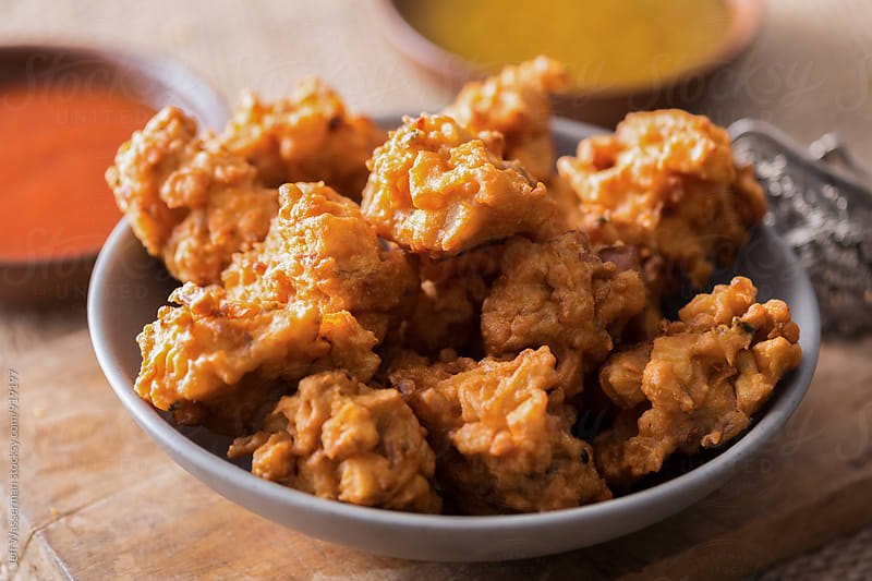 Indian Pakora and Dipping Sauce  by Jeff Wasserman for Stocksy United