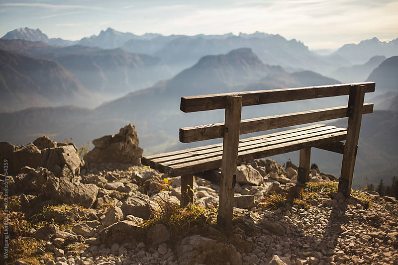 bench in the austrian mountains by Wolfgang Lienbacher for Stocksy United