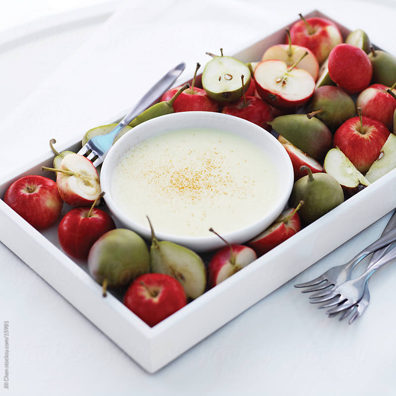 Cheese Dip and Fruit by Jill Chen for Stocksy United