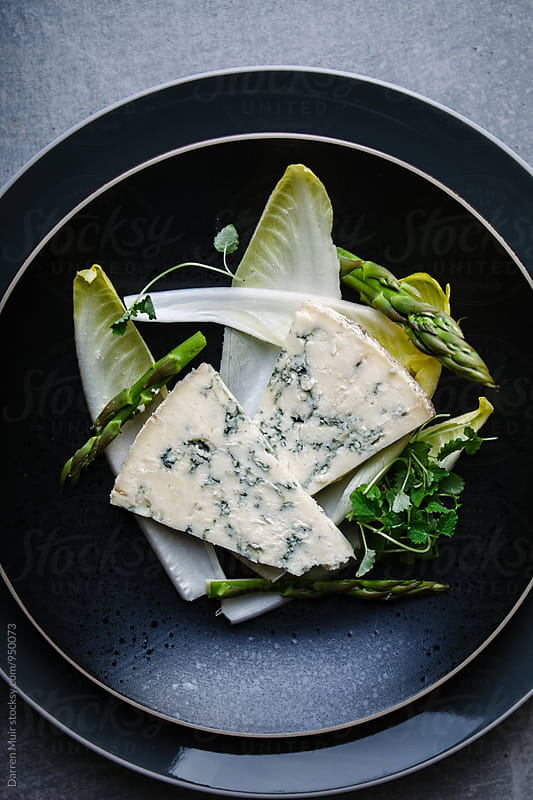 Stilton,chicory and asparagus salad. by Darren Muir for Stocksy United