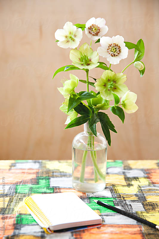 Table top with retro table cloth and notepad, pencil and vase of flowers by Natalie JEFFCOTT for Stocksy United