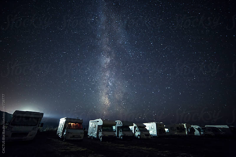 Camper life under the Milky way view during a crear night by CACTUS Blai Baules for Stocksy United